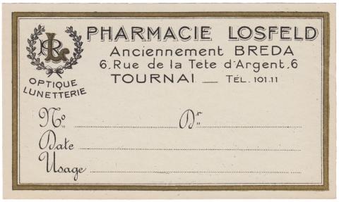 Apothecary Label Pharmacie Losfeld